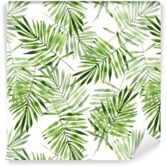 Green palm leaves custom wallpaper by gribanessa for sale on Spoonflower Flora Pattern, Textile Pattern Design, Textile Patterns, Abstract Pattern, Flower Patterns, Pen And Watercolor, Watercolor Illustration, Floral Watercolor, Palm Leaf Wallpaper