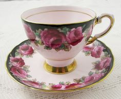 Vintage Pink Tea Cup and Saucer By Tuscan China with Roses and Black Border, English Bone China