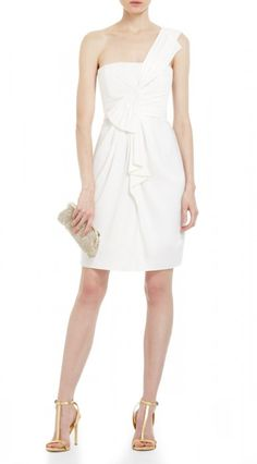 """$165.00You'll turn heads every time in this stunning one-shoulder cocktail dress. Asymmetrical neckline. Sleeveless. Classic fit.Single strap over left shoulder. Draped and gathered detail throughout.Concealed center back zipper with hook-and-eye closure. Measures approximately 28.75"""" from shoulder to hem.Satin: Polyester. Lining: Polyester.Imported. Dry Clean."""