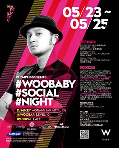 W Taipei presents our first ever #woobaby #social #night! From 5/23 to 5/25, groove with DJ Mikey Moran's music while partying with us through Facebook, Twitter, Weibo and Instagram! Oh, and prizes to win home too! #can't wait!  台北W飯店即將舉辦首次 #woobaby #社群派對! 自5/23起至5/25止,你可每晚於WOOBAR享受DJ新秀麥基小子的現場熱音放送,並用臉書、推特、微博、 Instagram和我們交個朋友! 現場還有大禮等你抱回家喔! 有沒有 #迫不及待!  Explore more 更多訊息: http://www.wtaipei.com/en/woobaby/?SM_Fbook_SWHTE_[3573]_AP
