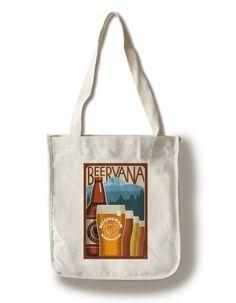 Bellingham, Washington - Beervana Vintage Sign - Lantern Press Artwork (100% Cotton Tote Bag - Reusable), Women's, Multi