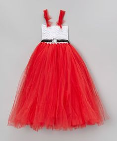 Love this White & Red Tulle Dress - Infant, Toddler & Girls on #zulily! #zulilyfinds