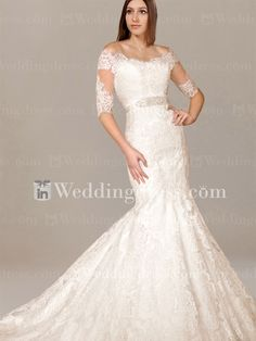 Buy mermaid lace wedding dresses with jackets for brides wanting effortless elegance and modesty. Free globally delivery.