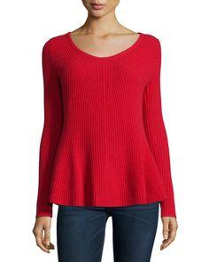 Neiman Marcus Peplum Cashmere Sweater, Women's, Size: LARGE (10-12), Light Brown