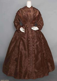 Silk Moire Afternoon Gown, 1850. For upcoming vintage and antique fashion auction. #edwardian