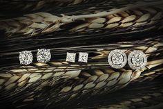 #diamond #earrings #round #princess #gold #halo #studs #wedding #engagement
