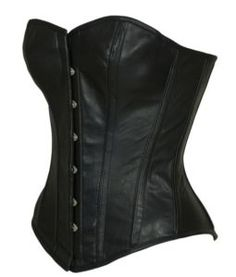 Black Leather Overbust STEEL BONED Goth Corset Basque