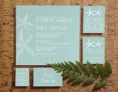Rustic Pair of Starfish Wedding Invitation Set/Suite, Invites, Save the date, RSVP, Thank You Cards, Response Card, Printable/PDF/Printed by InvitationSnob on Etsy https://www.etsy.com/listing/193524685/rustic-pair-of-starfish-wedding