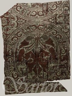 Textile fragment, first half of 12th century  Spain  Silk brocade; a compound weave, MET in NYC