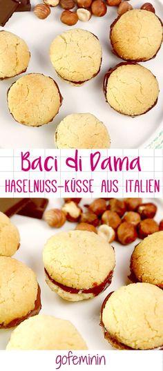 Dieses süße Gebäck mit Haselnuss und Schokocreme ist der Frauenkuss aus Italien - Baci di Dama - das Rezept!