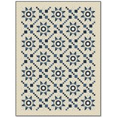 Windham Fabrics Rhapsody in Blue by Mary Koval Compass Star Quilt Kit 57 by 77 Inches   Precuts