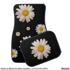 Daisy on Black Car Mats (multiple) - Car Floor Mats and Automobile Accessories - Tap The Link Now To Find Gadgets for your Awesome Ride Hippie Car, Car Interior Decor, Interior Ideas, Interior Design, Van Interior, Girly Car, Car Accessories For Girls, Cars Birthday Parties, Car Mats