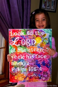 Stick letters to a canvas and let kids paint over it to make fun wall art!