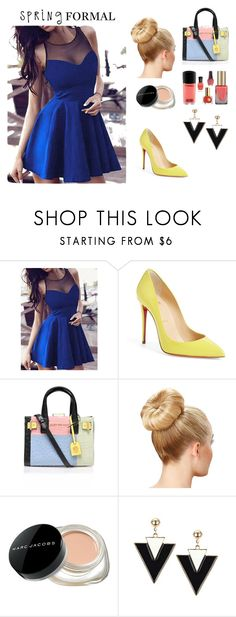 """""""Blue and yellow look"""" by elena-abrego ❤ liked on Polyvore featuring Christian Louboutin, Kurt Geiger, Marc Jacobs, bluedress, bun, yellowshoes and springformal"""