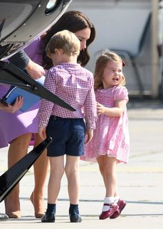 Kate Middleton Consoles Princess Charlotte on Tarmac Amid Adorable Tantrum -- See the Pics!