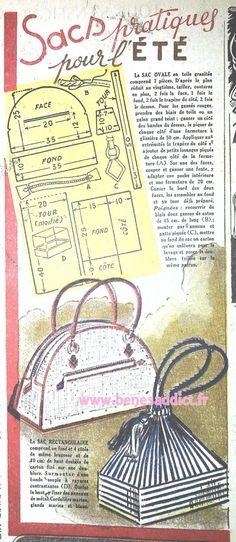 New Sewing Vintage Bags Free Pattern Ideas Vintage Purses, Vintage Bags, Vintage Diy, Vintage Sewing, Purse Patterns, Sewing Patterns, Sewing Tutorials, Sewing Crafts, Diy Bags Purses