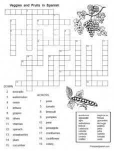 FREE printable food words in Spanish puzzle worksheets and
