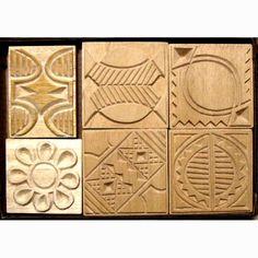 Oshiwa Carved Wood Printing Stamp Set, Tribal Designs, Item 32-24. $112,00, via Etsy.