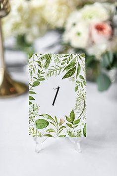 Printable table numbers Botanical table numbers Elegant