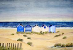 Beach Huts And Stormy Skies | Lynette Amelie Paintings - Tap the link to see the newly released collections for amazing beach bikinis