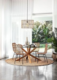 [ Round jute rug under the Freedom glass dining table with coastal dining chairs Mealtime could be t Rug Under Kitchen Table, Glass Round Dining Table, Dining Room Table Decor, Dining Table Design, Modern Dining Table, Dining Room Furniture, Dining Chairs, Round Tables, Circle Dining Table