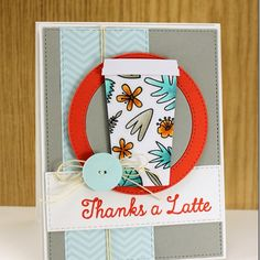 You know you have that one friend who would love this card inspired from a Starbucks coffee cup!  LLD Coffee Cup die was used for the cup, and the colors of Persimmon Prestige and Sno Cone are cool and refreshing.  DIY thank you card