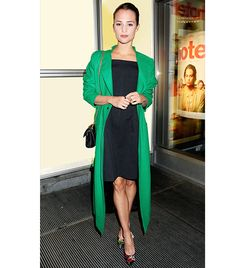 Style a long bold, bright-colored coat over a simple LBD for an on-trend (and warm) fall look.