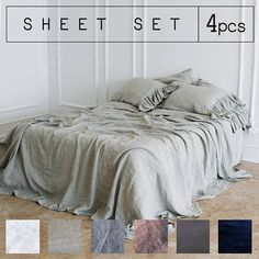Eco-friendly Linen SHEETS SET with ruffled pillow covers in 5 colors Handmade of 100% Linen. Love the softness of stone-washed linen, also the dusky, vintage colors