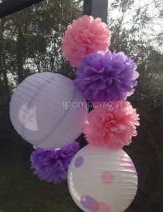 NEW  My Little Pony - 4 Tissue Paper Poms and 2 Decorated Paper Lanterns// Baby Shower, Birthday, Wedding, Bridal Shower, Nursery Decor on Etsy, $26.99