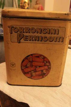 scatola di latta Torroncini Pernigotti anni 30-40