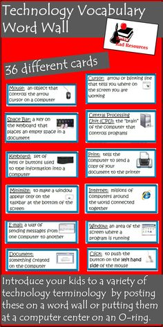 Like all subjects technology skills comes with a certain amount of vocabulary that students need to understand in order to complete assignments. These vocabulary cards give kid-friendly definitions and color pictures for more than 30 technology terms. These cards can be laminated and hung on a bulletin board, or placed on an O-ring at the computer to help guide students through technology directions. Download these 36 cards for just $3.00.