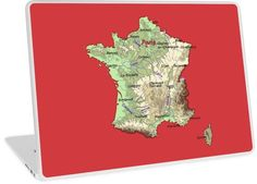 'relief map of France topographic map of FRANCE with Capitals and Major Rivers Flame Scarlet background' Laptop Skin by mashmosh France Map, Topographic Map, Background S, Finding Yourself, Artists, River, Unique, Design, Rivers