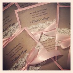 Reserved for laura - 45 Hand made lace and satin baptism invitation/wedding invitation