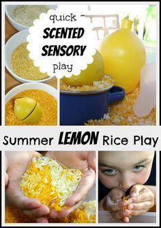 Lemon Scented Rice Olfactory Sensory Play Activity