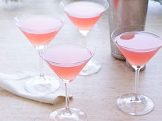 Cosmopolitans. Ingredients: 1 cup vodka, 1/2 cup triple sec, 1/2 cup cranberry juice, 1/4 cup freshly squeezed lime juice. Pour all ingredients into a cocktail shaker with ice. Shake well and pour through a strainer into four martini glasses.