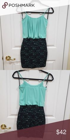 😍 Mint and black lace bodycon dress Mint green top with black lace overlay dress. Simply put, it's adorable for a night out! Sweet Storm Dresses Mini