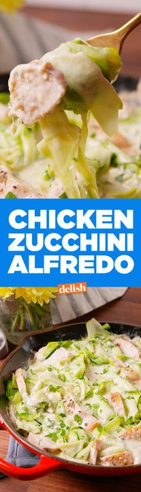 Pasta lovers, this Chicken Zucchini Alfredo will save you so many calories. Get the recipe from Delish.com.