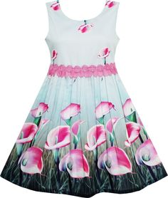 Girls Dress Pink Calla Lily Flower Garden Print Lace Waist Size 4-12 Years