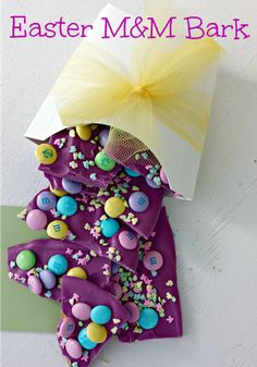 Purple Easter M&M Bark