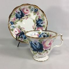 Royal-Albert-Tea-Cup-Saucer-Summer-Bounty-SAPPHIRE-Gilt-Cabbage-Rose-Blue-Pink