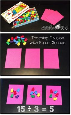 Gems Strategy for teaching division along with more helpful tips for teachers!Strategy for teaching division along with more helpful tips for teachers! Teaching Division, Math Division, Teaching Math, Kindergarten Math, 3rd Grade Division, Math Strategies, Math Resources, Math Activities, Division Activities