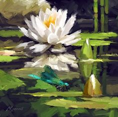 Water Lilies Painting, Lotus Painting, Lily Painting, Watercolor Flowers, Watercolor Paintings, Oil Painting App, Beautiful Paintings, Love Art, Painting Inspiration