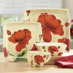 16-Piece Poppy Dinnerware Set from Seventh Avenue ® & 16-Piece Poppy Dinnerware Set New $59.95   Kitchen Ideas   Pinterest ...