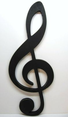 Large TREBLE CLEF Sign - Big Bold Graphic Statement - Musical Note Wall Art - Over 2 Feet Tall $34.99