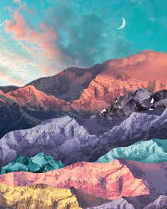 Mixed-Media Landscapes Collages by Karen Lynch – Trendland Online Magazine Curating the Web since 2006 Collage Landscape, Landscape Artwork, Contemporary Landscape, Landscape Design, Art Hippie, All The Bright Places, Mountain Art, Retro Wallpaper, Collage Artists