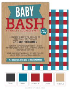 How fun are these invitations that I did for my best friends baby shower. She told me it was going to be an outdoor co-ed party with lawn games and a low country boil. I thought this would be a cute invitation to send out to get the party started! Enjoy!