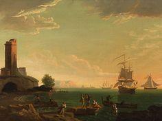 Küstenlandschaft mit Segelbooten, Ölgemälde, 19. Jahrhundert