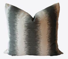 Decorative Designer Ikat Stripe Gray Pillow by MakingFabulous