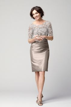 mother of the Bride Style - Cashmere Taffeta Skirt and Ivory Lace Bolero Dress by Watters