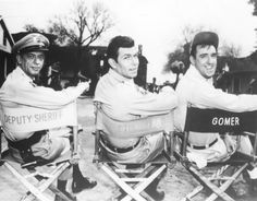 Don Knotts, Andy Griffith and Jim Nabors on set of The Andy Griffith Show Sheriff, Jim Nabors, Barney Fife, Don Knotts, The Andy Griffith Show, Fishing Photography, Vintage Photography, Old Shows, Scene Photo